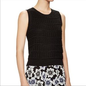 Kate Spade Black Open Knit Cropped Sweater New Sm